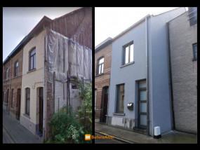 Nederwijk, voor-en na foto: isolatie + sierpleister (crepi)